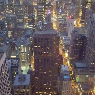 The view from the John Hancock building, downtown Chicago
