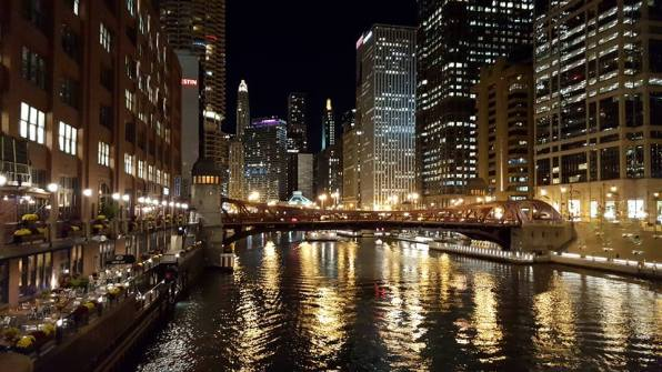 The Chicago River at night.