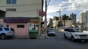 This picture sums up a lot of what we've seen in this city: We have Coca Cola and Burger King, an Israel Mini Mart, a Ferreteria, all at the intersection of Calle Loiza and Calle Jefferson.