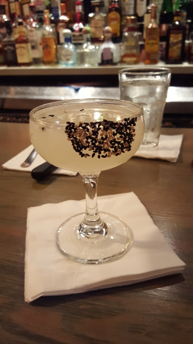 A sake, lemongrass and sesame seed cocktail in San Juan, PR.