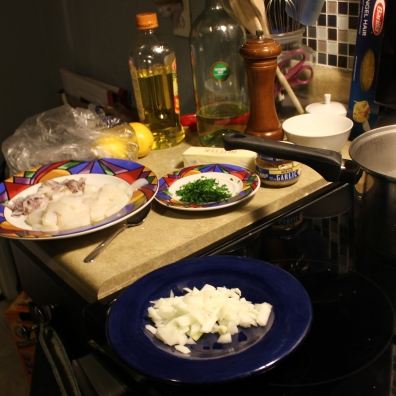 The dinner prep! (Though we went out to dinner the second night, the first night we made our own seafood feast at home.)