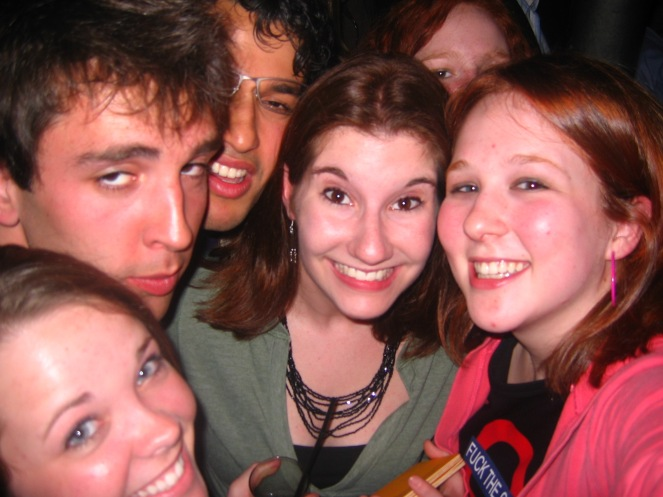 Katie and me, the night I first dyed my hair red, and the night she and her roommate got pickpocketed in Paris, 2006.