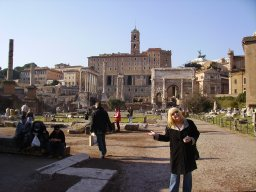 My mom, being silly, on our tour in Rome