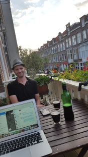 Working and drinking on the balcony
