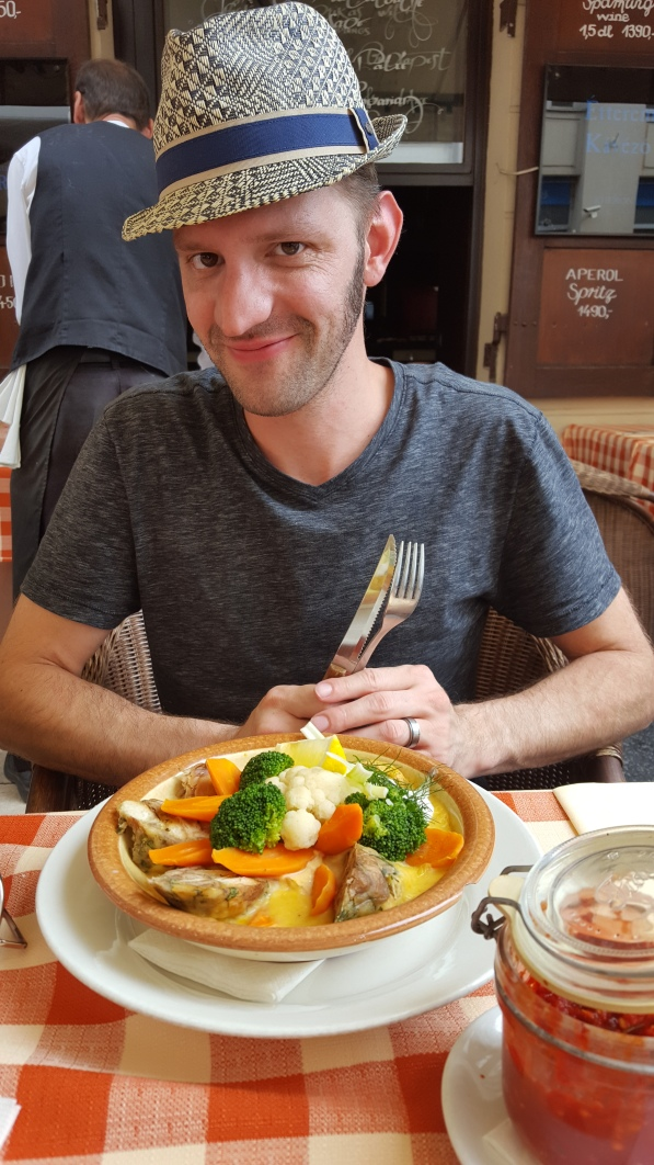 Traditional Hungarian fare: leg of rabbit and veggies
