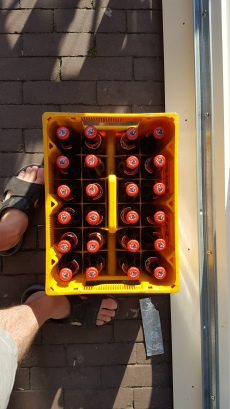Case of beer. 24 bottles, 25 ml each. 14.50 euros. When you're done, take it back to the store to recycle the bottles and case.