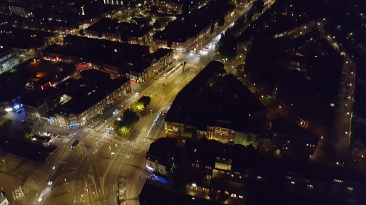 View of the city at night from the Hague Tower (notice those red lights? That's the local red light district!)