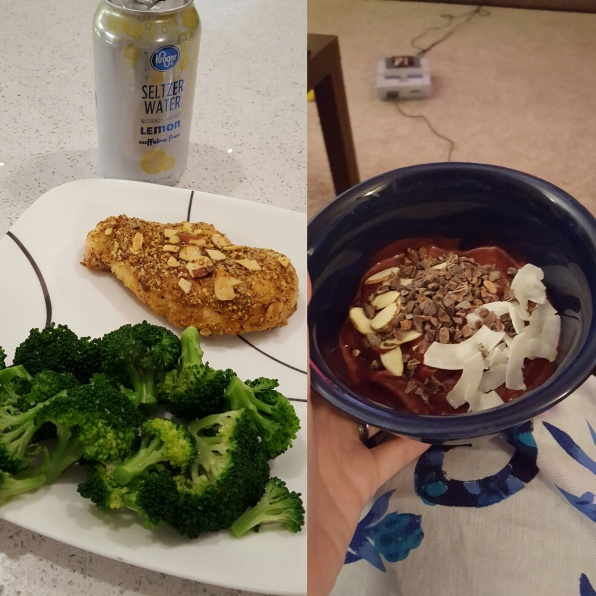 "Almond baked chicken, broccoli, ""ice cream"" (bananas and frozen berries, cacao nibs, almonds, unsweetened coconut flakes)"