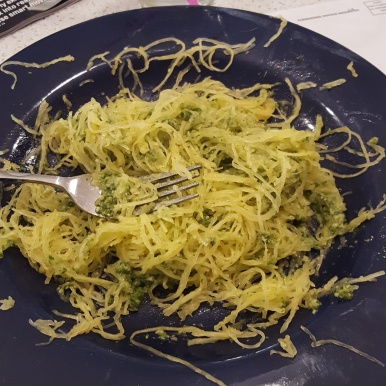 Dairy-free pesto and spaghetti squash - so good!