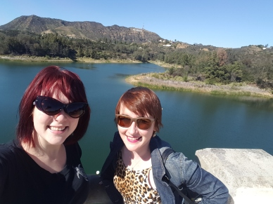 The Hollywood sign (and my high school friend C, who now lives in LA)