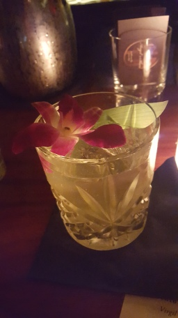 One of husband's drinks at Angels's Share; beautiful, no?