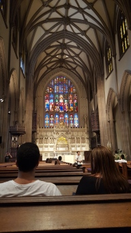 The stained glass inside Trinity Church