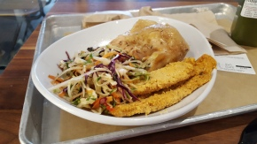 Roasted organic chicken, summer slaw, almond-crusted chicken tenders