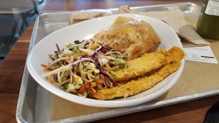 Roasted organic chicken, summer slaw, almond-crusted chicken tenders