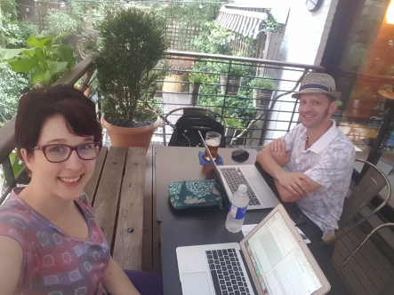 Catching up on some work in the lovely courtyard at Pod 51