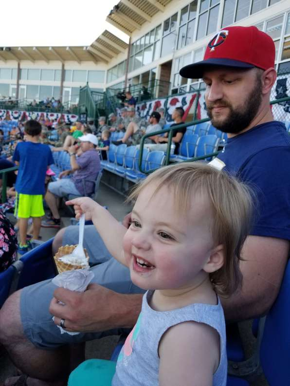 Our niece enjoying a baseball game