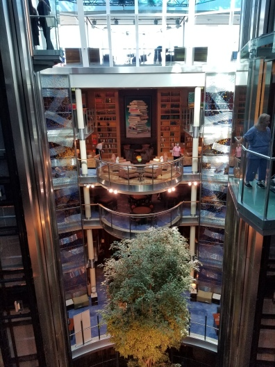 The inside atrium, focused on the library