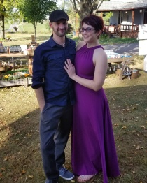 Enjoying the lovely fall weather at a friend's wedding