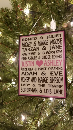 Justin's mom made us this card for our wedding, and I just loved it. She always puts so much time into these handmade cards, so we keep a lot of them. But no one can enjoy them when they're in a box! So onto the tree this one goes.