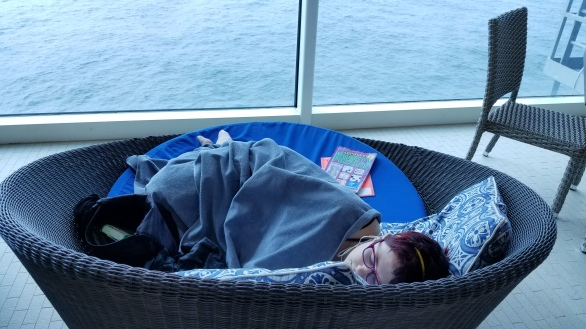 Reading and napping on the cruise