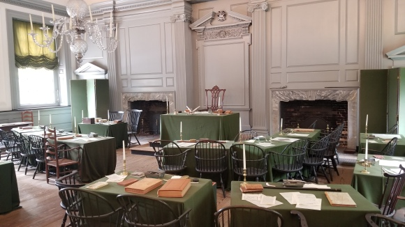 The room that all of the paintings depict; where the constitution was signed.