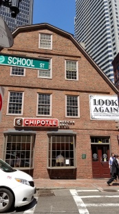 The oldest commercial building used to be a bookstore and is now a Chipotle