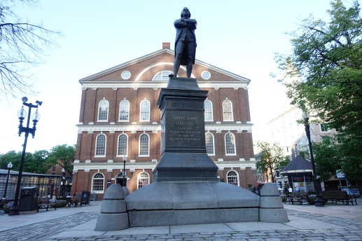 Sam Adams in front of Feneuil Hall