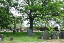 The old cemetery, which is right next to the memorial for the witch trials
