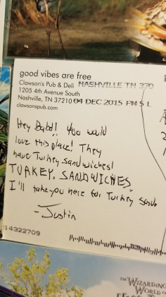 The one postcard my husband has sent me. From a local deli. LOL.
