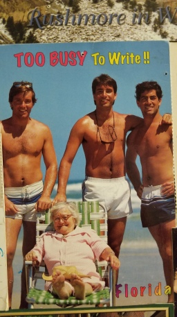 This classic 90s Florida postcard is exactly the type I would giggle at in the grocery store lines as a child. So scandalous!!