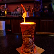 A glowing lava drink a tTrader Sam's