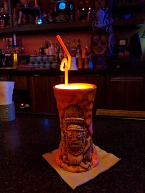 A glowing lava drink a tTrader Sam's