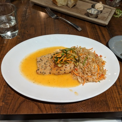 My amaaaaazing nut encrusted mahi, in a delicious curry, with crab fried rice. SO GOOD.