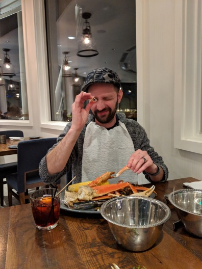 Justin enjoyed his snowcrab, and I ate most of his perfectly crispy brussel sprouts.