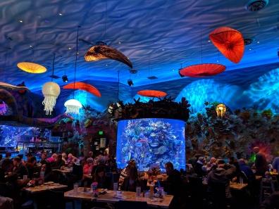 Inside the T-rex restaurant
